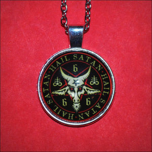 Jewelry - Satanic Baphomet Pentagram Dome Necklace